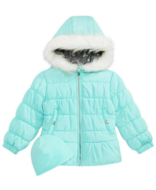 Item - Aqua Blue Toddler Girls Quilted Puffer Jacket & Matching Hat 2t. Coat Size OS (one size)