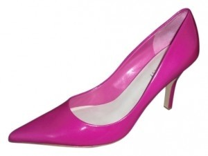 Nine West Leather Pointy Toe 3.5 Inch Heel Hot Pink Pumps