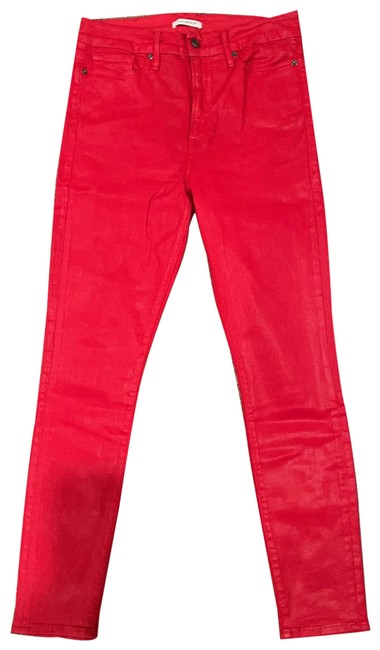 Good American Red Coated Waist Skinny Jeans Size 12 (L, 32, 33) Good American Red Coated Waist Skinny Jeans Size 12 (L, 32, 33) Image 1