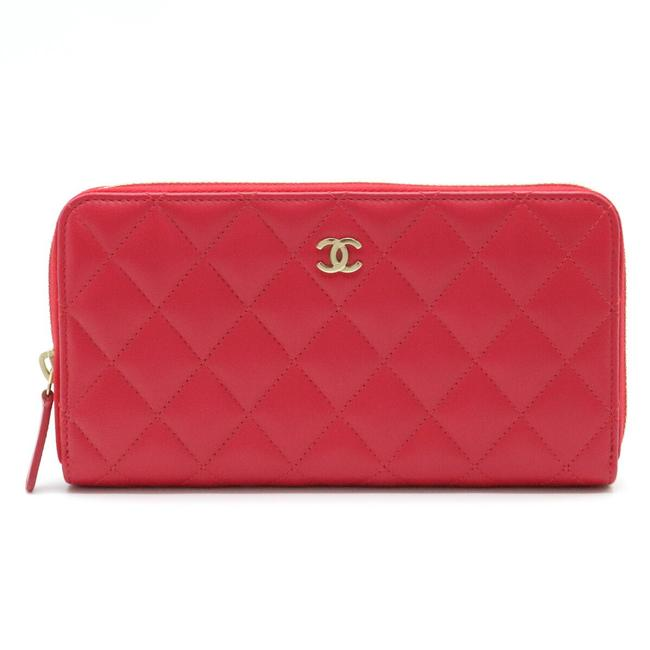 Item - Red Color Matrasse Classic Coco Mark Round Zipper Lambskin Leather Gold Hardware A50097 Wallet