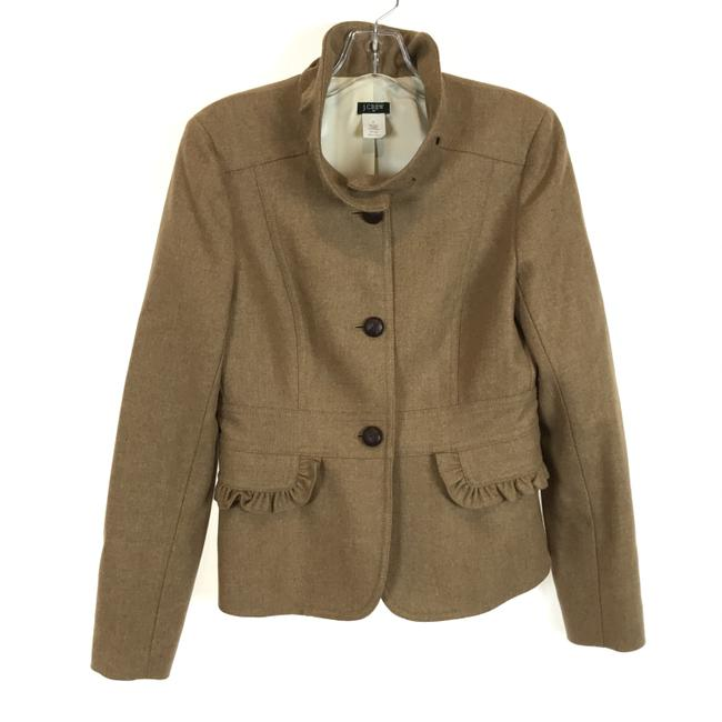 Item - Brown Ruffle Accent Wool Blend Jacket Size 8 (M)