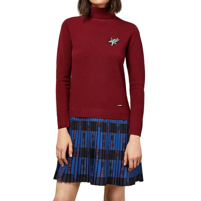 Item - Dark Red Paraz Woven Knit Check Mid-length Short Casual Dress Size 4 (S)