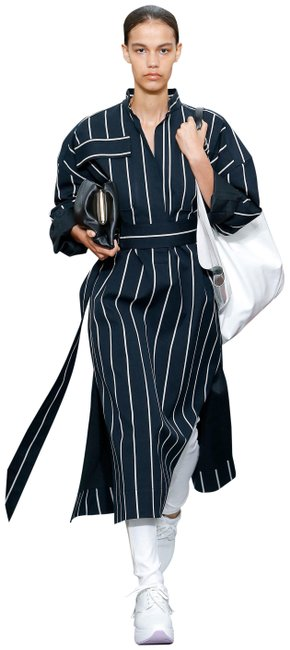 Item - Navy White Stripe Runway Mid-length Casual Maxi Dress Size 12 (L)