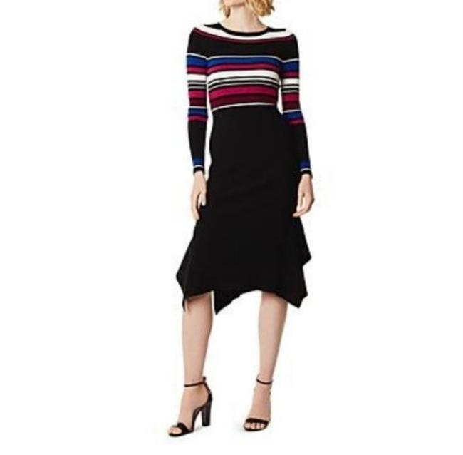 Item - Black Pink and White Exclusive Ribbed Knit Long Work/Office Dress Size 8 (M)