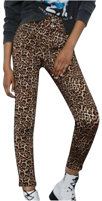 Item - Brown Leopard Mid Rise Skinny - Activewear Bottoms Size 6 (S, 28)