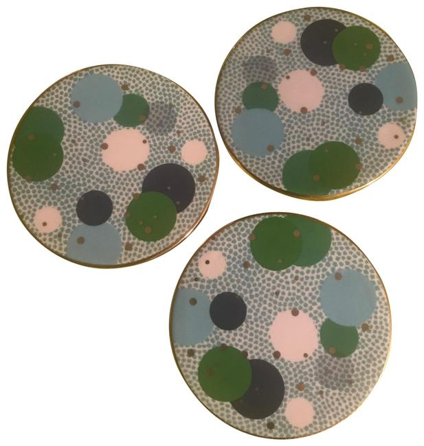 Item - Blue/White/Green W Porcelain Coasters Gold Trim