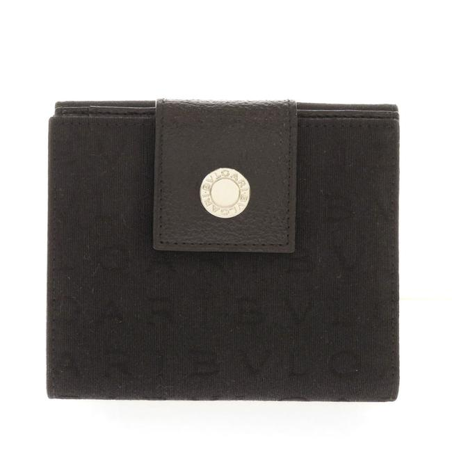 Item - Black Logotype Bi-fold Canvas Ladies Wallet