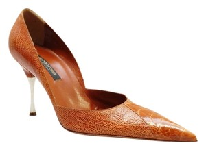 Sergio Rossi New Crocodile Reptile Embossed Leather Pointed Toe Tan Pumps