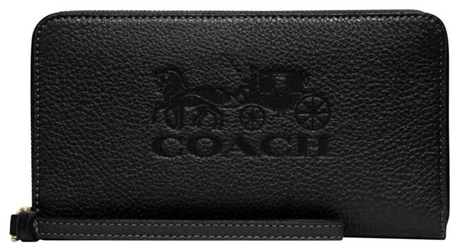 Item - F75908 Large Horse and Carriage Phone Wallet Bl Black Leather Wristlet