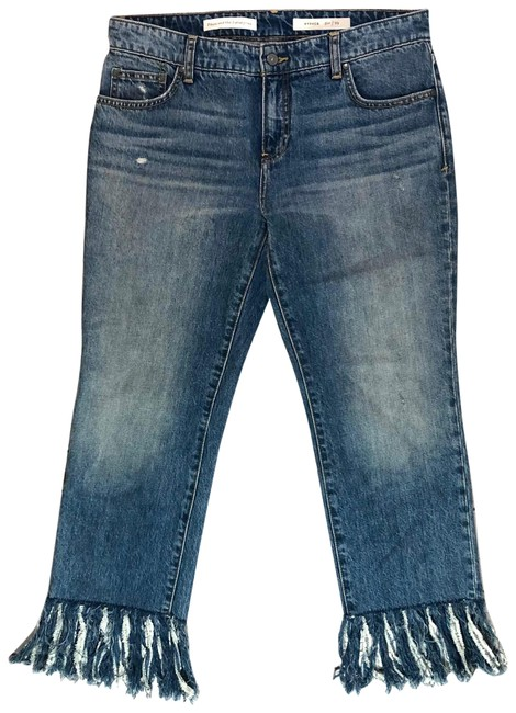 Item - Pilcro and The Letterpress Blue Medium Wash Hyphen Raw Fringe Relaxed Fit Jeans Size 8 (M, 29, 30)