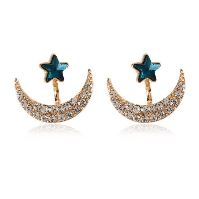Item - Blue & Gold Moon Star Jacket Earrings
