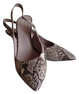 Kennel & Schmenger Kitten Heel Sling Pointed Toe snake embossed grey/off-white Pumps