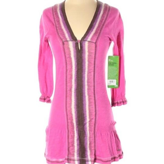 "Item - Pink/Purple/White Yoga ""Green"" Label Watercolor Boarder Tunic Activewear Top Size 2 (XS)"