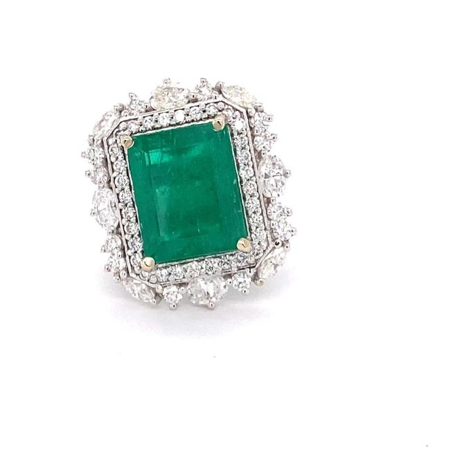 Item - Green Gia Certified 9.83ct Colombian Emerald 18k White Gold Ring