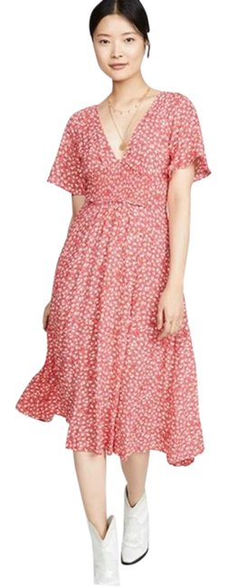 Item - Red White In Full Bloom Mid-length Casual Maxi Dress Size 2 (XS)
