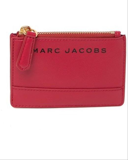 Item - Branded Saffiano Top Zip Wallet Red Synthetic Wristlet