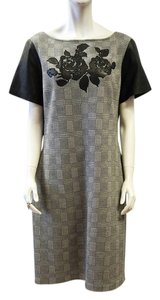 St. John New Caviar Black Linen Rose Leather Herringbone Shift 16 Xl Dress