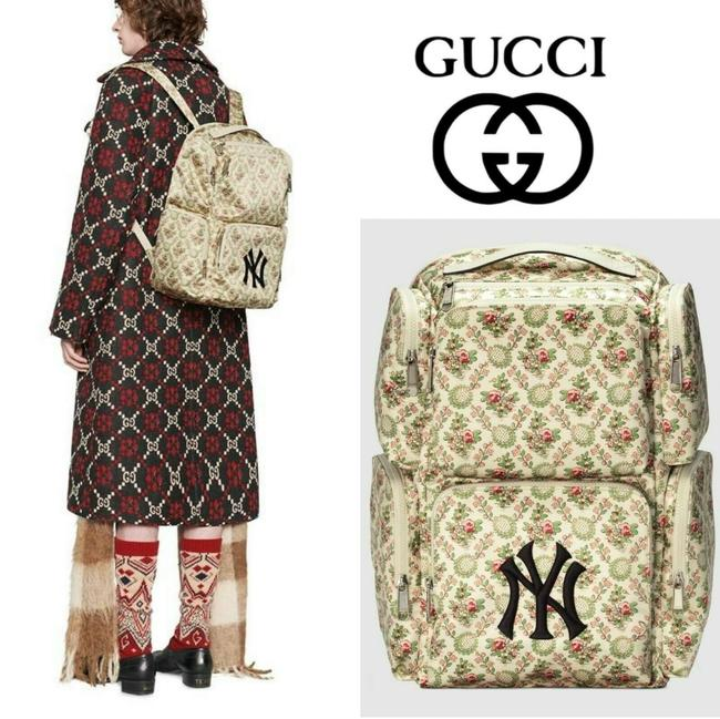 Item - Beige Green Backpack Ny Yankees Floral Gg Patch Large *limited Luggage