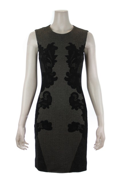 Item - Grey & Black Lace Floral Mid-length Night Out Dress Size 4 (S)
