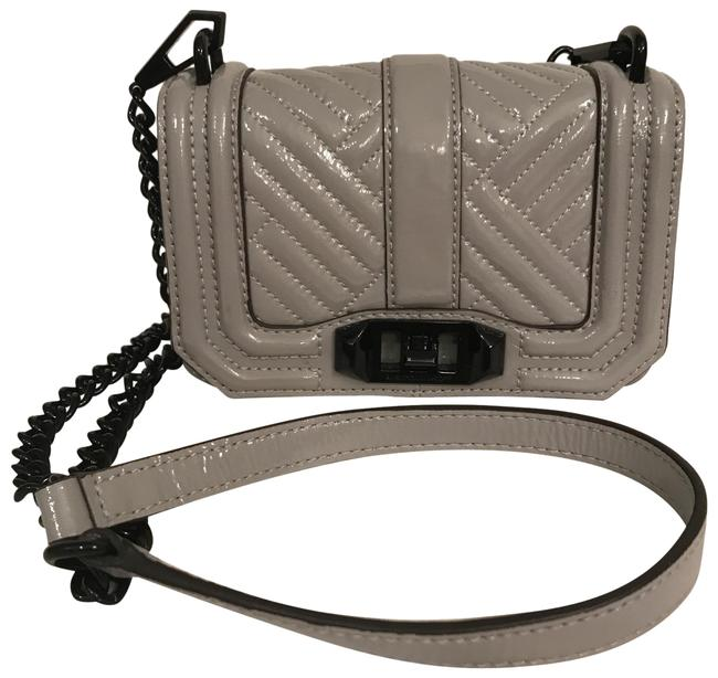 Item - Mini Love Quilted Gray Black Patent Leather Cross Body Bag
