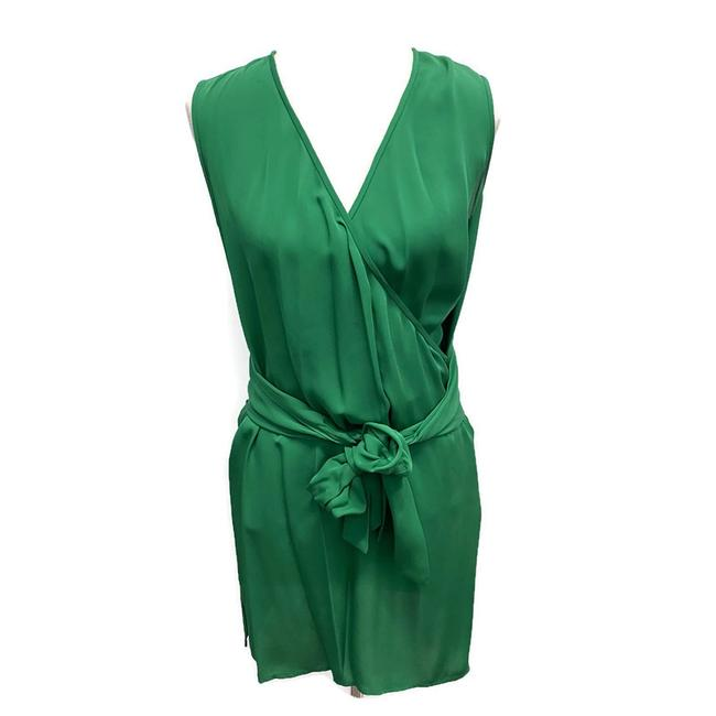 Item - Green Faux Wrap Short Night Out Dress Size 6 (S)
