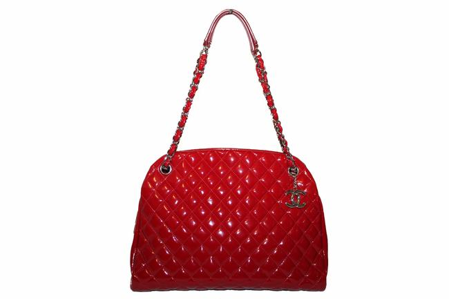 Item - Mademoiselle Quilted Bowling Red Patent Leather Shoulder Bag