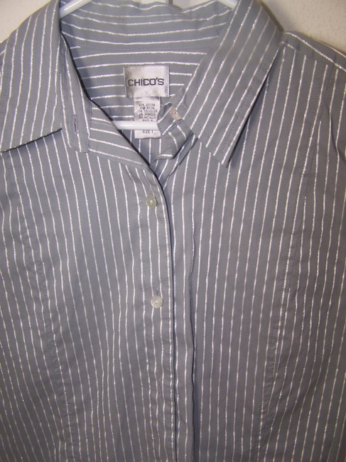 Chico's Button Down Shirt Gray