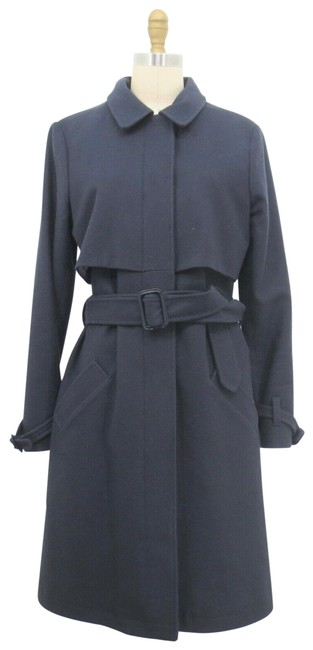 Item - Gray L Portland Collection Navy Blue Belted Wool Trench Coat Size 12 (L)