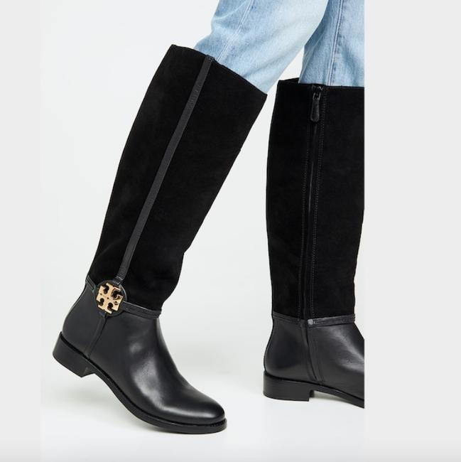 Item - Black Miller Knee High Riding Suede Leather Gold Logo Boots/Booties Size US 5 Regular (M, B)