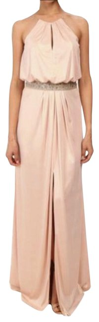 Item - Rose Gold Halter Neck Beaded Waist Long Formal Dress Size 2 (XS)