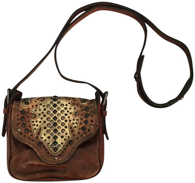 Item - Embellished Western Brown Leather Cross Body Bag