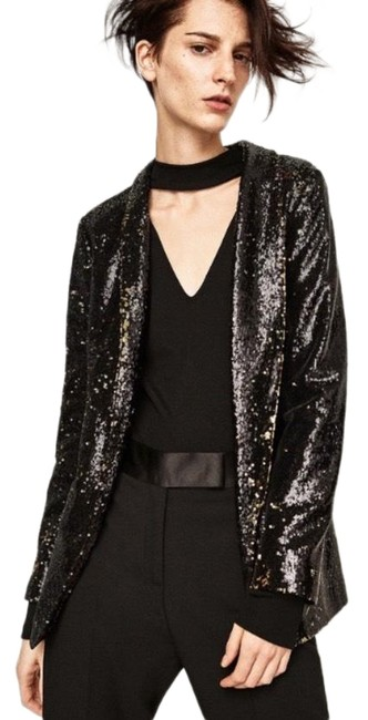 Item - Black Gold Two-tone Sequin with Two-tone Pockets Blazer Size 8 (M)