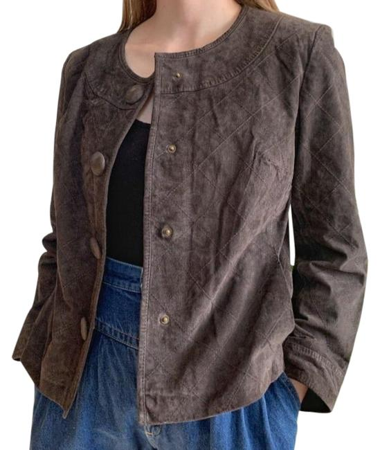Item - Brown Suede Quilted Snap Buttons Jacket Size 8 (M)