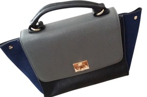 Sole Society Satchel in Navy blue, black, gray and gold