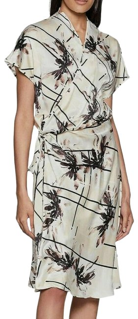 Item - Ivory Black Leonce Floral Wrap Pleated Printed Silk-charmeuse M Cocktail Dress Size 8 (M)