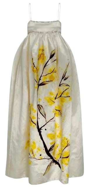 Item - Ivory Mimosa Printed Long Casual Maxi Dress Size 6 (S)