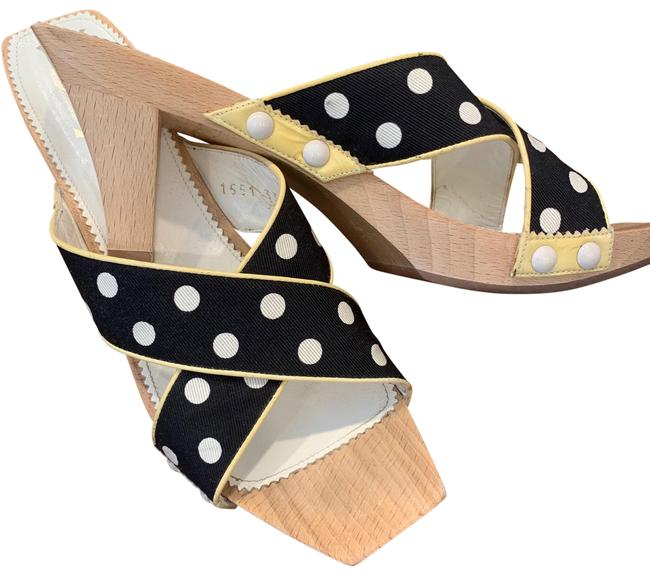 Item - Wood Heel and Soles with Black Grosgrain & White Polka Dot Leather Straps. 1 551 3395 Platforms Size EU 37 (Approx. US 7) Regular (M, B)