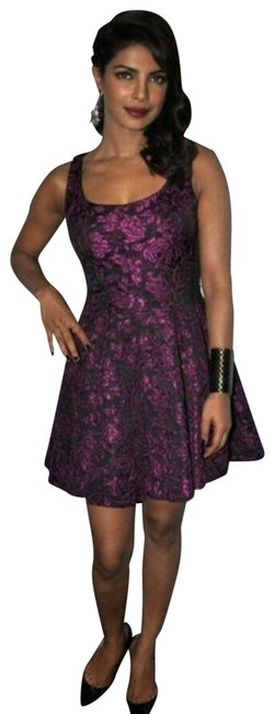 Item - Purple Floral Embroidered A Line Black Short Casual Dress Size 6 (S)