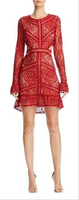 Item - Red Long Sleeve Emerie Lace Night Out Dress Size 2 (XS)