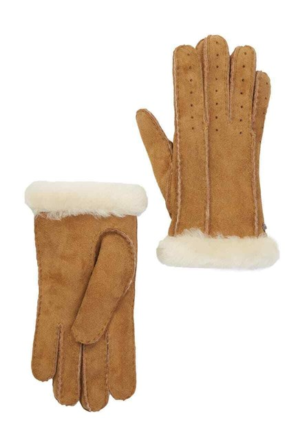 Item - Classic Perforated Genuine Dyed Sheep Shearling Gloves Chestnut Tech Accessory