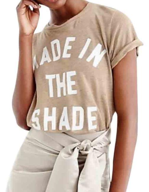Item - Tan J.crew Made In The Shade Linen Graphic Large Tee Shirt Size 12 (L)