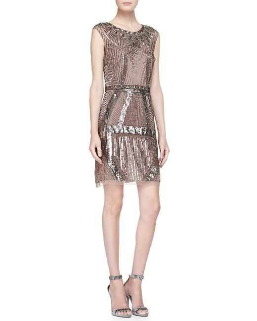 Item - Rose Gold Beaded & Sequined Art Mid-length Cocktail Dress Size 0 (XS)