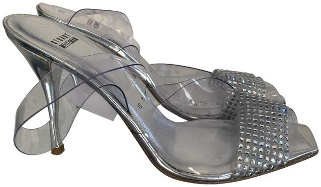 Item - Clear Silver Jelly W Jelly/Plastic Sling-back Heels W/ Crystal Accent Sandals Size US 10 Regular (M, B)