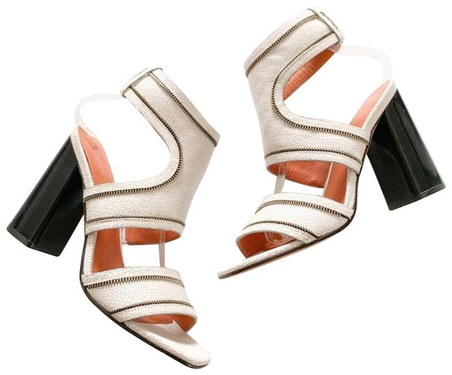Item - White Parker Zipper Trim Sandals Size US 7 Regular (M, B)