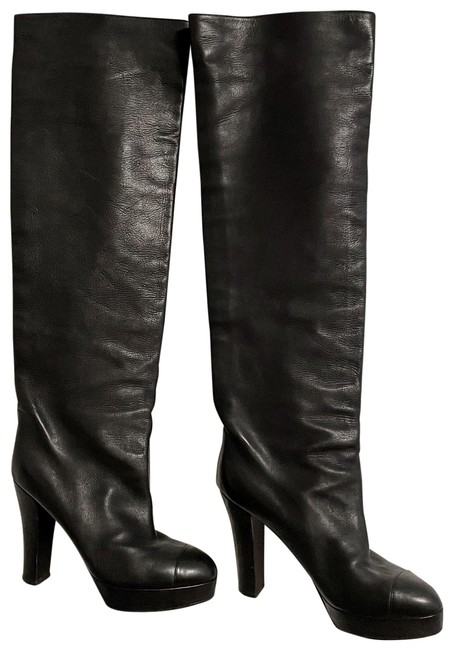 Item - Black Over The Knee Leather Boots/Booties Size EU 40 (Approx. US 10) Regular (M, B)