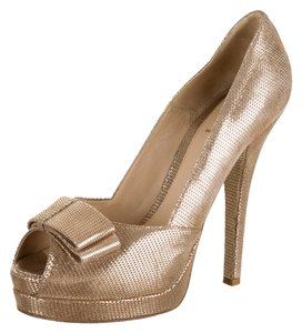 Fendi Designer Heels Stilettos Metallic Bow Wedding Party Gold Pumps