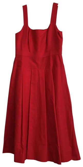 Item - Red Pleate A-line In Cotton Silk Faille Mid-length Night Out Dress Size 4 (S)