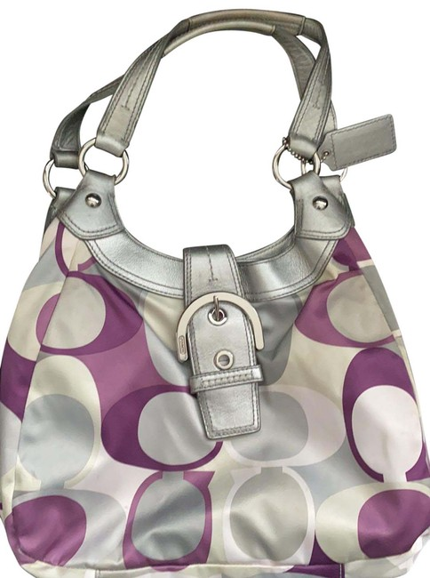 Item - Sateen Purple White and Gray Canvas Hobo Bag