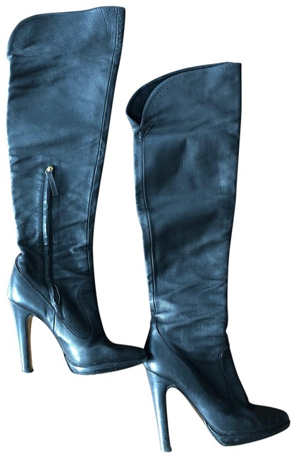 Item - Black Leather Over The Knee Boots/Booties Size EU 37.5 (Approx. US 7.5) Regular (M, B)
