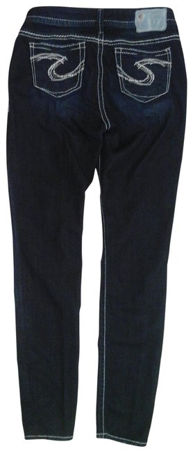 Item - Blue Dark Rinse Embroidered Skinny Jeans Size 29 (6, M)